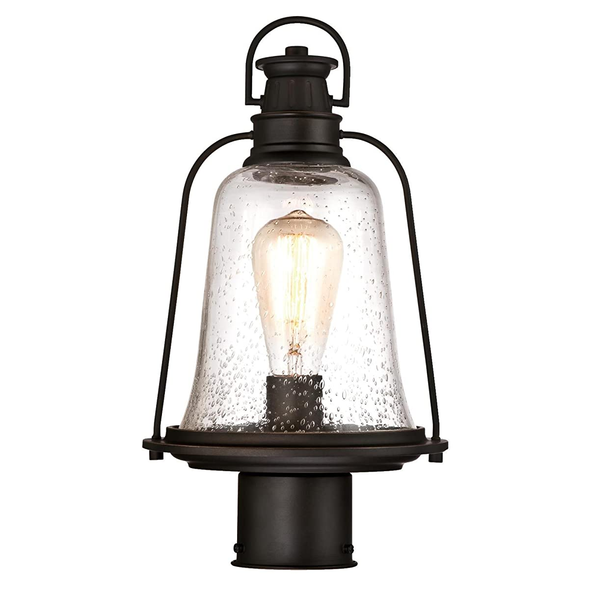 Westinghouse 6347000 Brynn One-Light Outdoor Post-Top Fixture, Oil Rubbed Bronze Finish with Highlights and Clear Seeded Glass