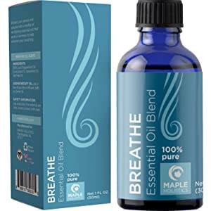 Pure Aromatherapy Essential Oil Blends - Eucalyptus Peppermint and Spearmint Breathe Essential Oils for Diffuser - Aromatherapy Oils for Snoring Solution and Natural Anxiety Relief with Tea Tree Oil