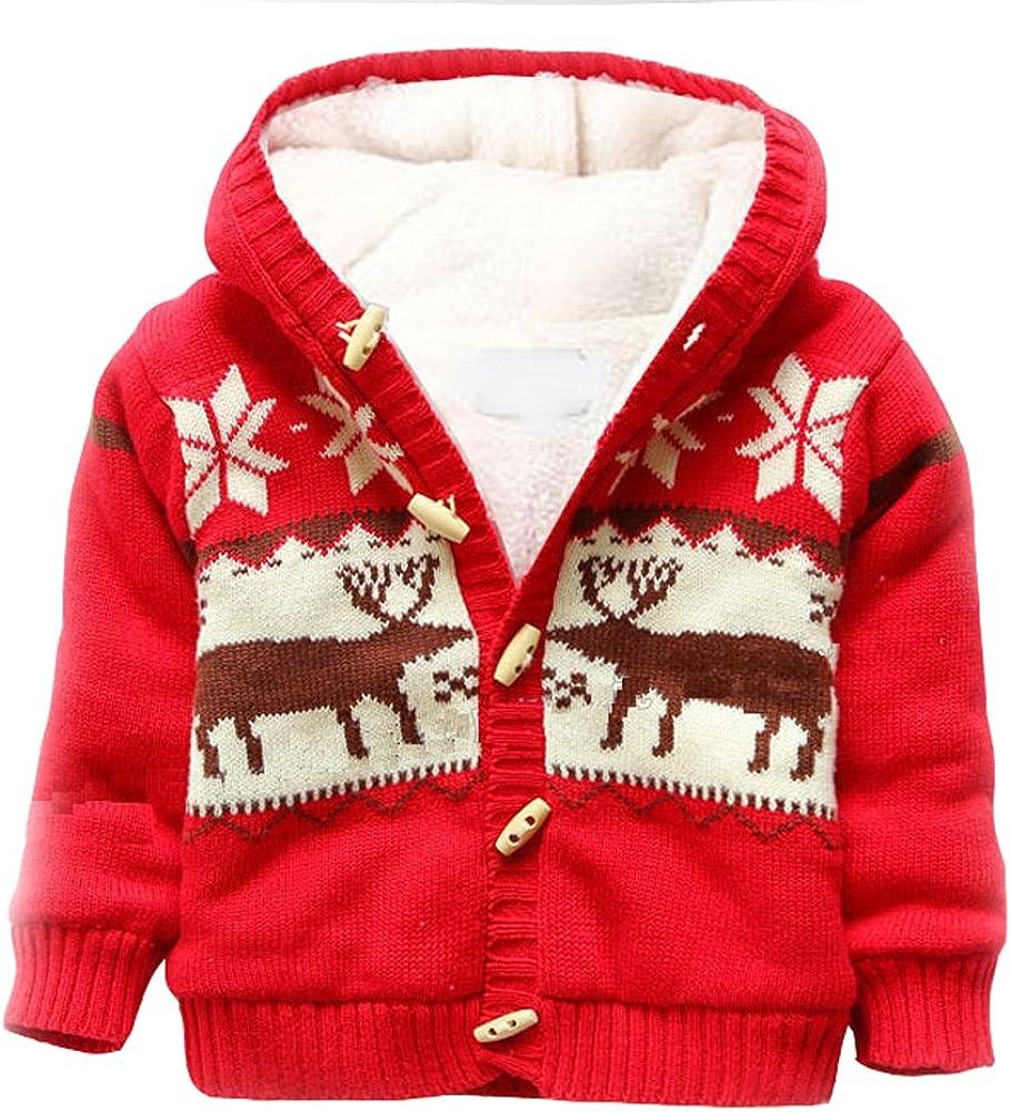 LLQ Baby Girl Clothes Toddler Sweater Boy Christmas Cardigan Winter Jacket Kid Coat