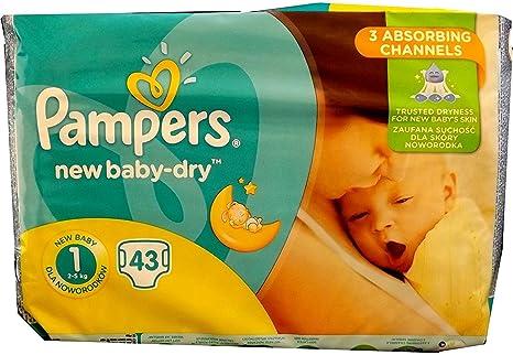 Cantidad 43 – 688 pieza PAMPERS Pañales New Baby Dry Talla 1. (Peso: