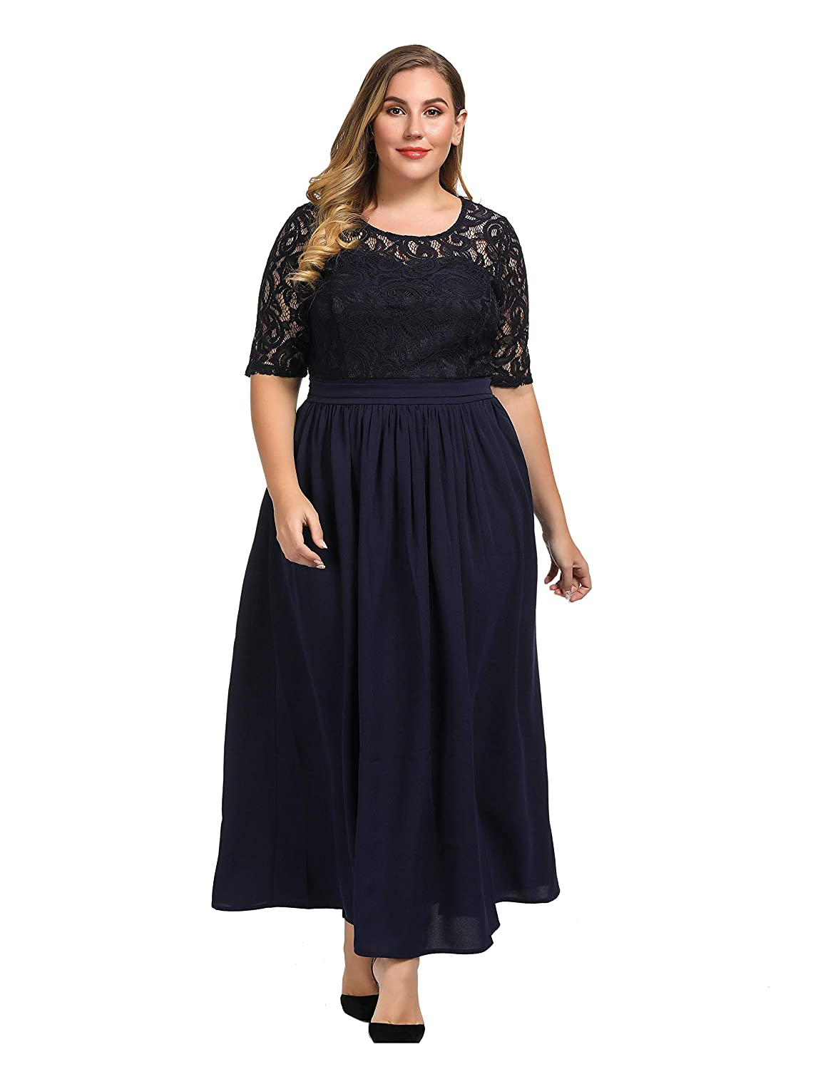 932a566ca28 Chicwe Women s Plus Size Guipure Lace Maxi Dress - Wedding Party Cocktail  Dress with Flared Skirt Floor Length at Amazon Women s Clothing store