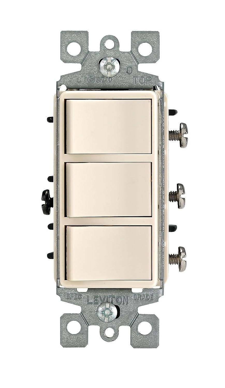 Light Almond Non-Grounded AC Combination Switch Commercial Grade Leviton 1755-T 15 Amp 120 Volt Decora Single-Pole