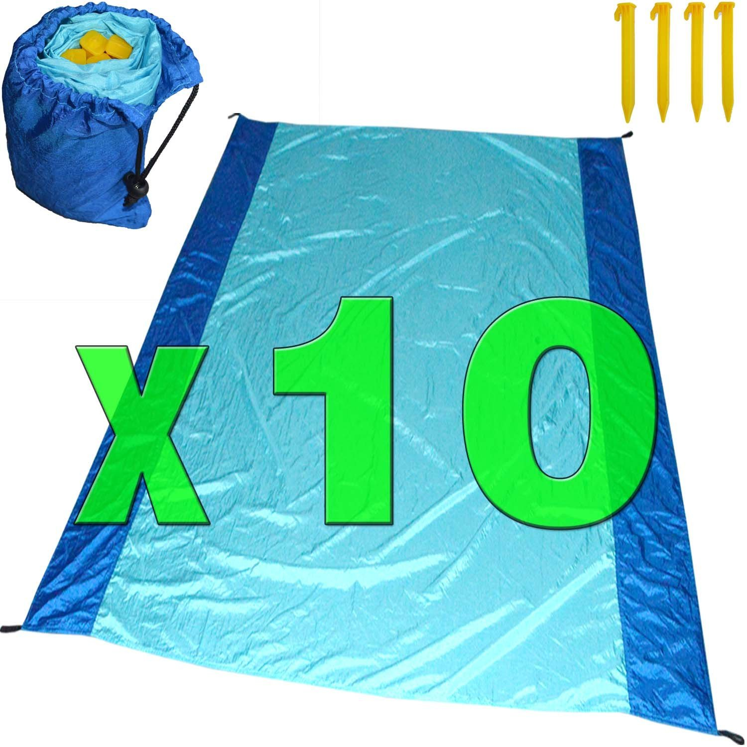 [Pack of 10] Sand Proof Beach Picnic Blanket of Parachute Nylon, works as Shade Tarp Sheet for your Sandless travel escape perfect for drying towel not a black microfiber waterproof or resistant mat by Spencer&Webb (Image #1)