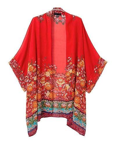Culater Las mujeres imprimieron la gasa de la rebeca blusa de flores mantón de la chaqueta kimono To...