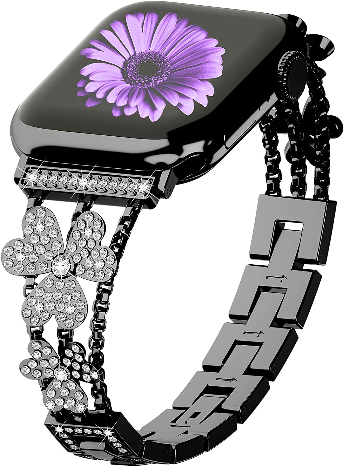 WILNARA Bling Diamond Band Compatible with Apple Watch 44mm 40mm 42mm 38mmThin Bracelet Band with Invisible Adjustable Buckle Clasp for Women Girls iWatch Series6/5/4/3/2/1/SE -Rose Silver Black