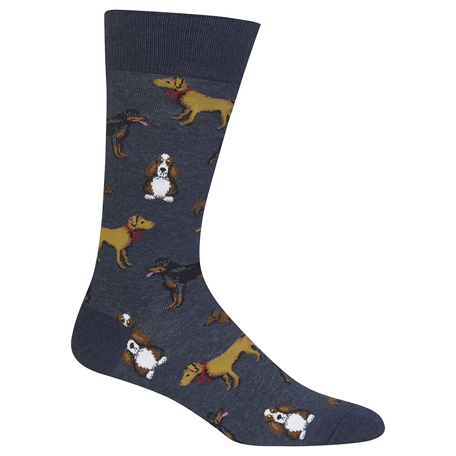 Hot Sox Mens Slack Crew, Multi Dogs DENH - Size: 10-13, Comes With a Helicase Brand Sock Ring