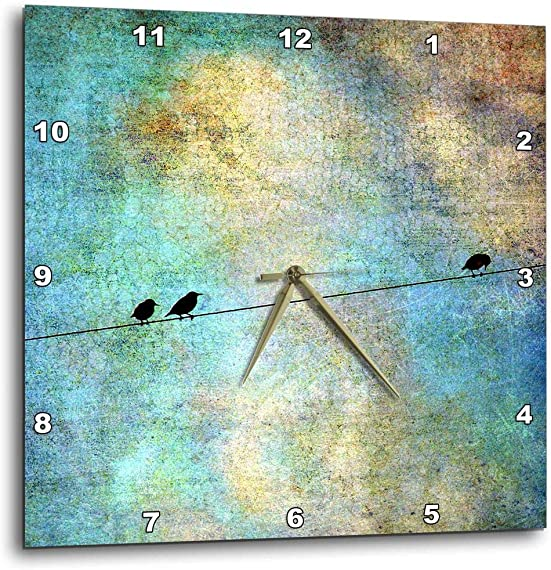 3dRose dpp_164118_1 Birds on a Wire Digital Art by Angelandspot-Wall Clock, 10 by 10-Inch
