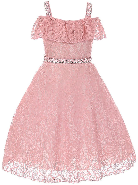 b688e08dad9 BNY Corner Off Shoulder Lace Rhinestones Easter Flower Girl Dress USA 4-16