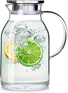 88OZ glass pitcher with lid and Spout,High Heat Resistance Pitcher water jug for Hot/Cold Water & Iced Tea wine coffee milk and juice beverage carafe (2.6L) (88OZ2.6L)