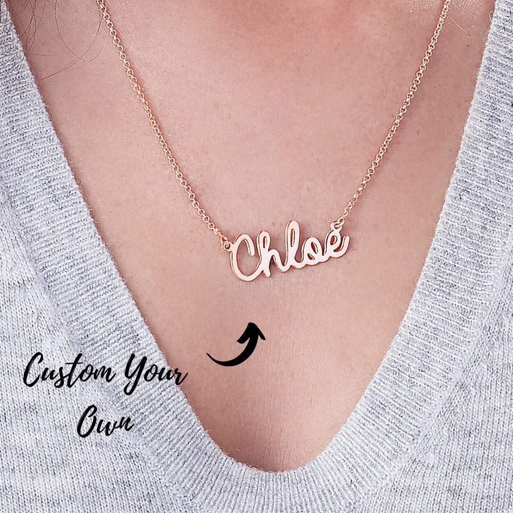 with 18K Plate in Name Chain Gift for Mother//Wife//Children//Lover OBTIAN Sterling Silver Peraonalized Name Necklace Custom Made Any Name Pendant Necklace