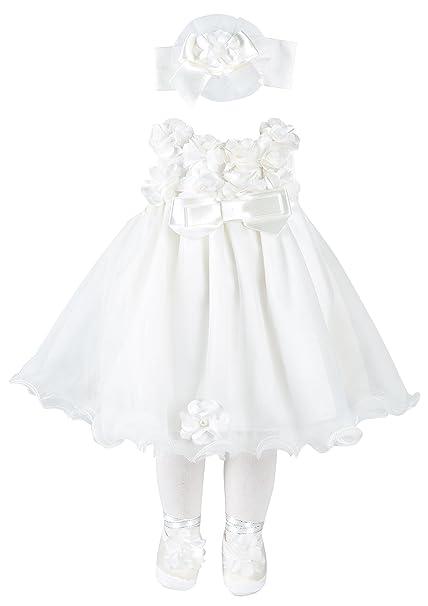 Taffy bebé Bautizo Bautismo Vestido Vestidos de Novia de Flores de 3D – Juego de 6