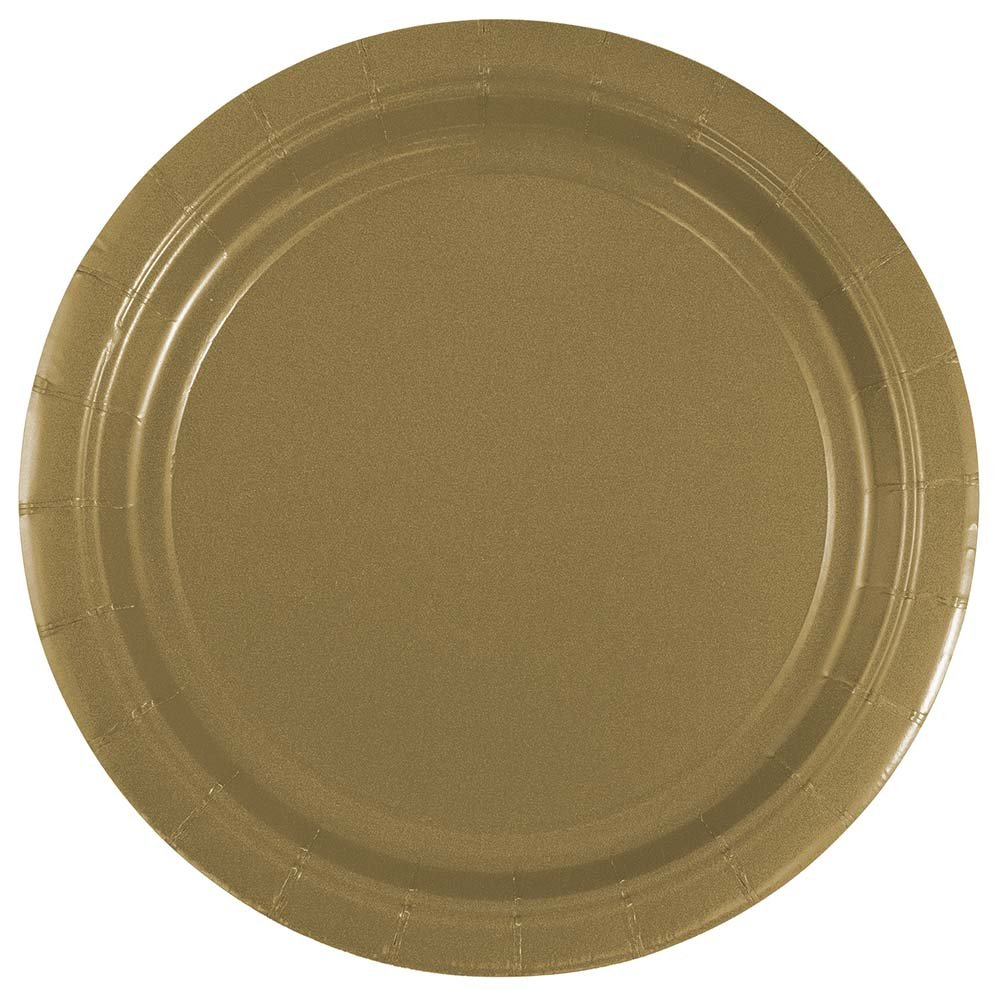 JAM Paper Round Paper Party Plates - Small - 7'' - Gold - 50/pack