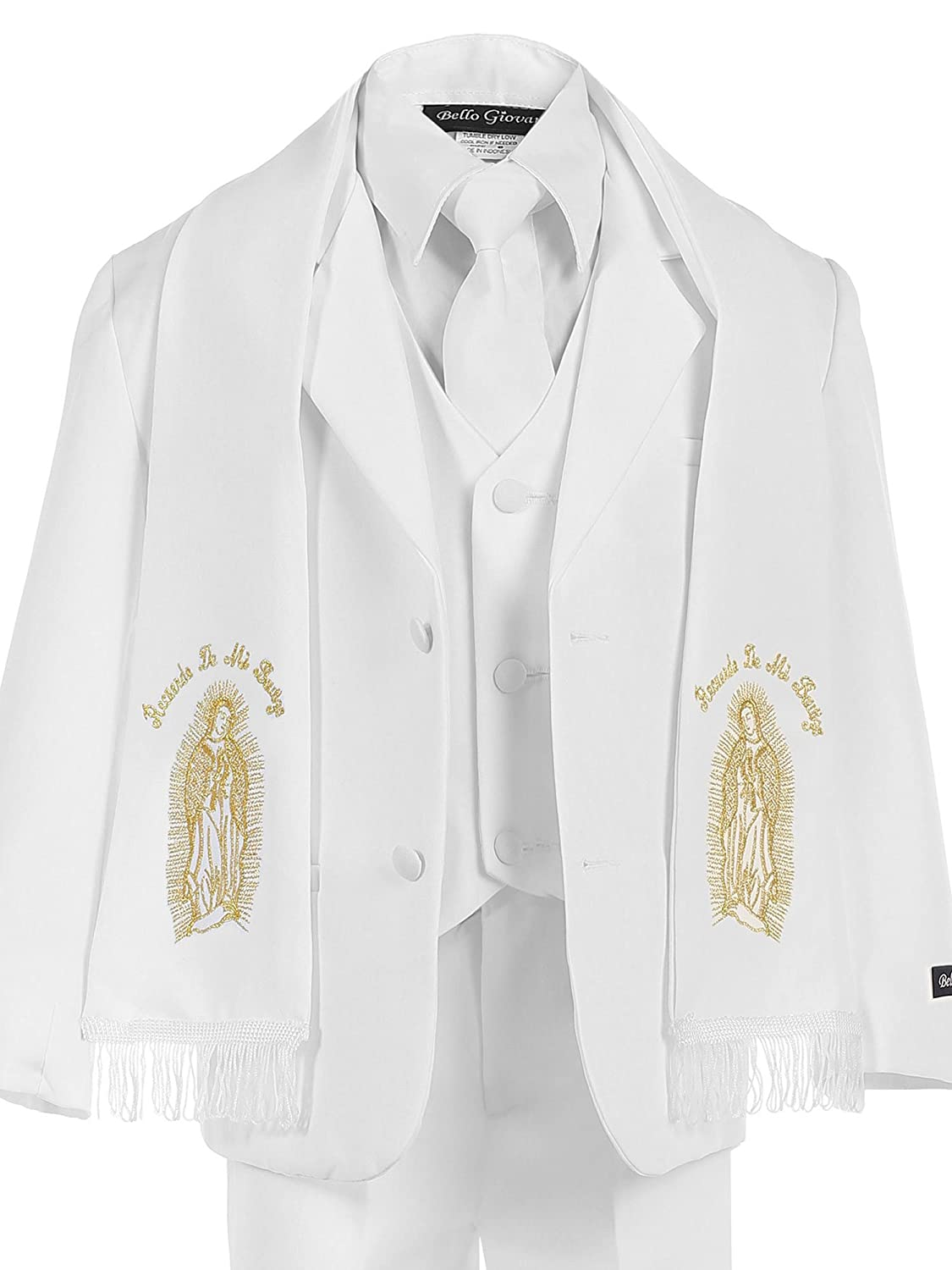 Bello Giovane Baby Boys White Christening Suit Maria Embroidered Scarf 6 Piece