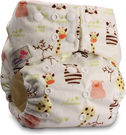Littles /& Bloomz Baby Cloth Washable Reusable Nappy Pocket Diaper Bamboo Fastener: Popper Pattern 17 with 2 Bamboo Charcoal Inserts