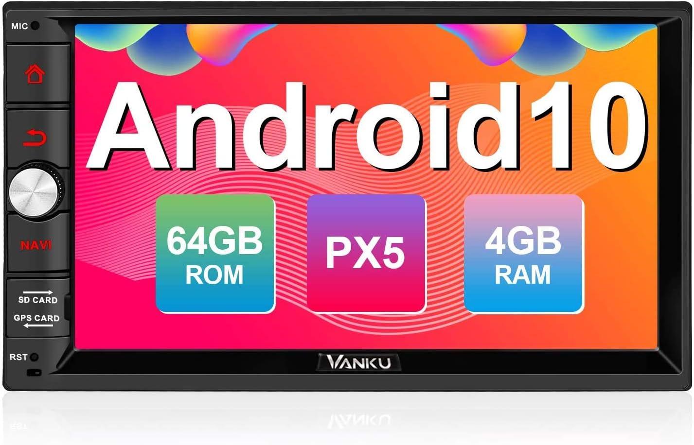 "Vanku Android 10 Radio 2 DIN de 4GB+64GB, PX5 Autoradio con GPS Navegador Soporte Bluetooth, Control Volante, WiFi, USB, SD, Mirror-Link, 4G, con 7"" Pantalla táctil"