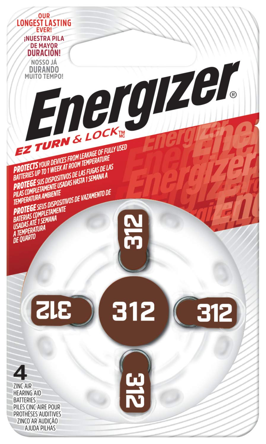 Energizer EZ Turn & Lock Size 312 Hearing Aid Battery, 96-Count by Energizer