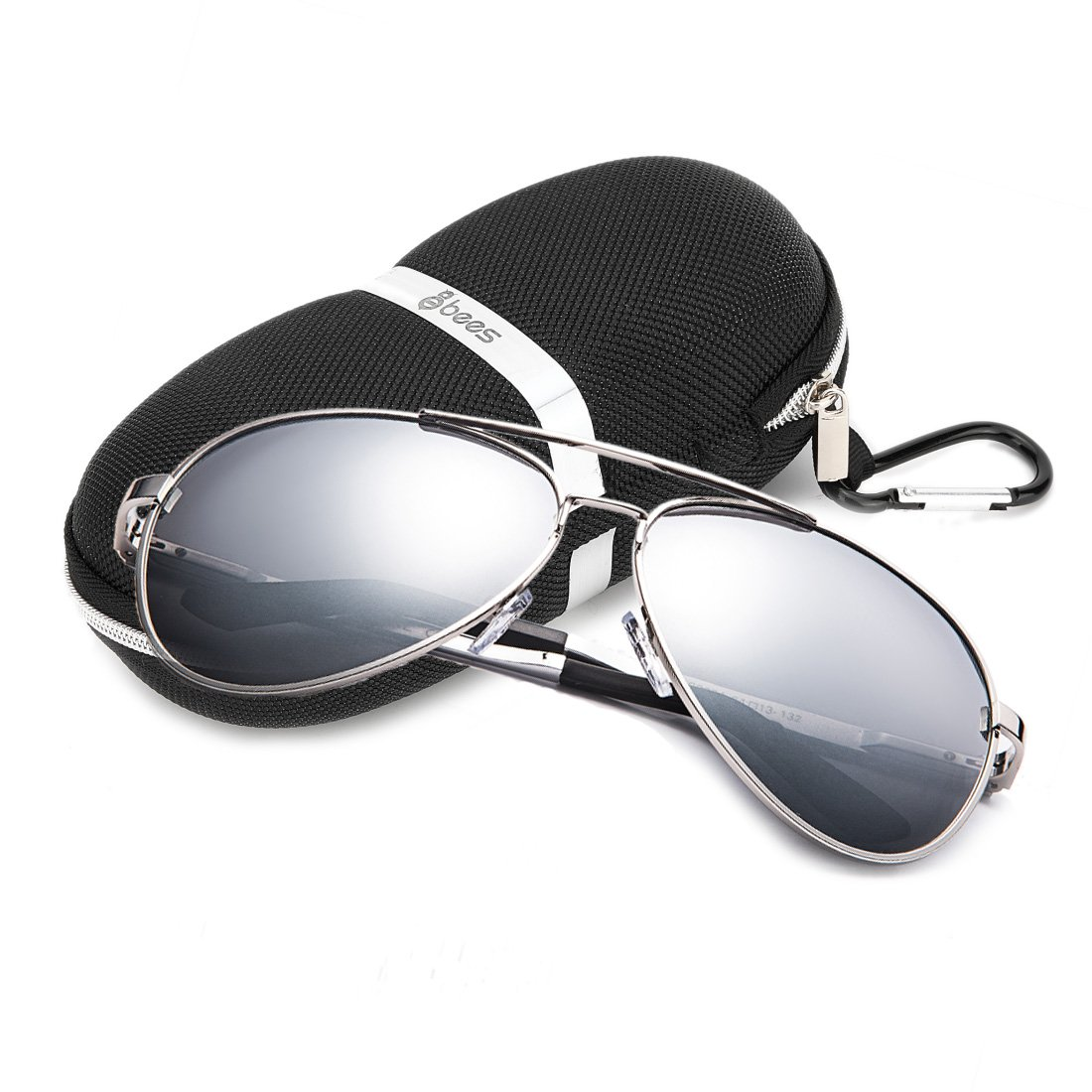 8Bees Polarized Aviator Sunglasses Driving UV400 Vintage for Men Women with case