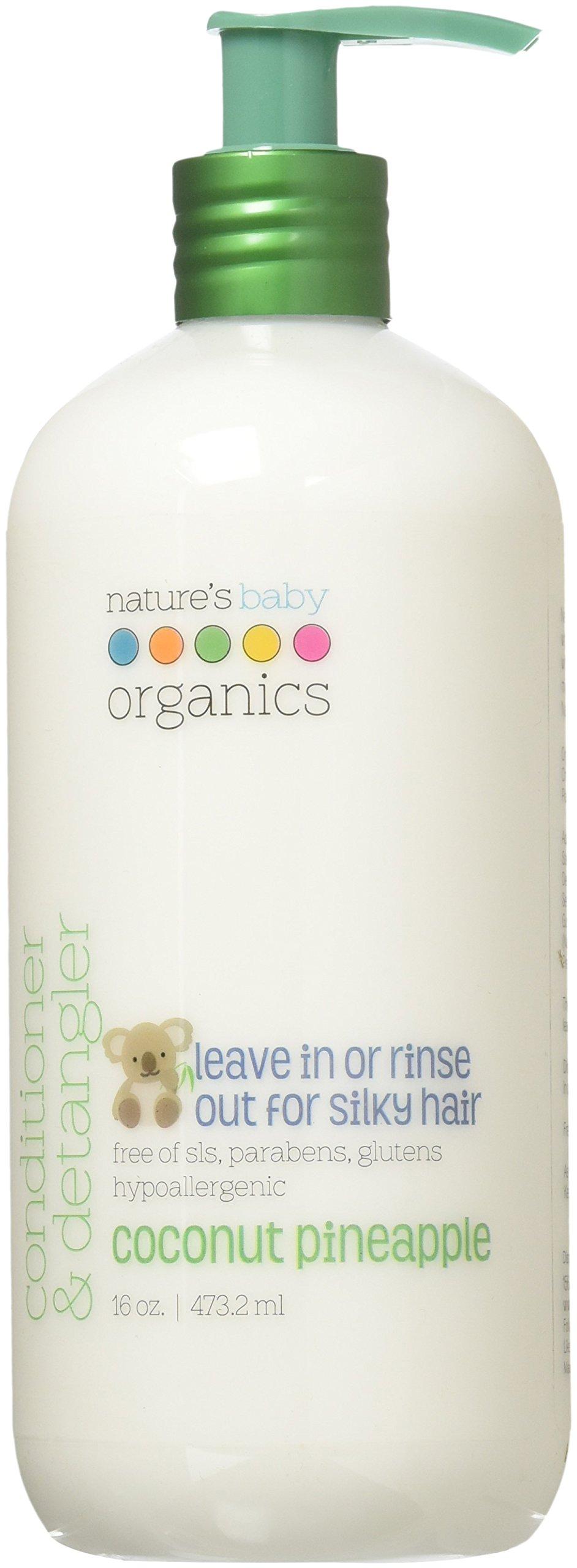 Nature's Baby Organics Conditioner & Detangler, Coconut Pineapple, 16 oz | Babies, Kids, Adults! Moisturizing, Gentle, Rich, Hypoallergenic | No Parabens, SLS, Glutens
