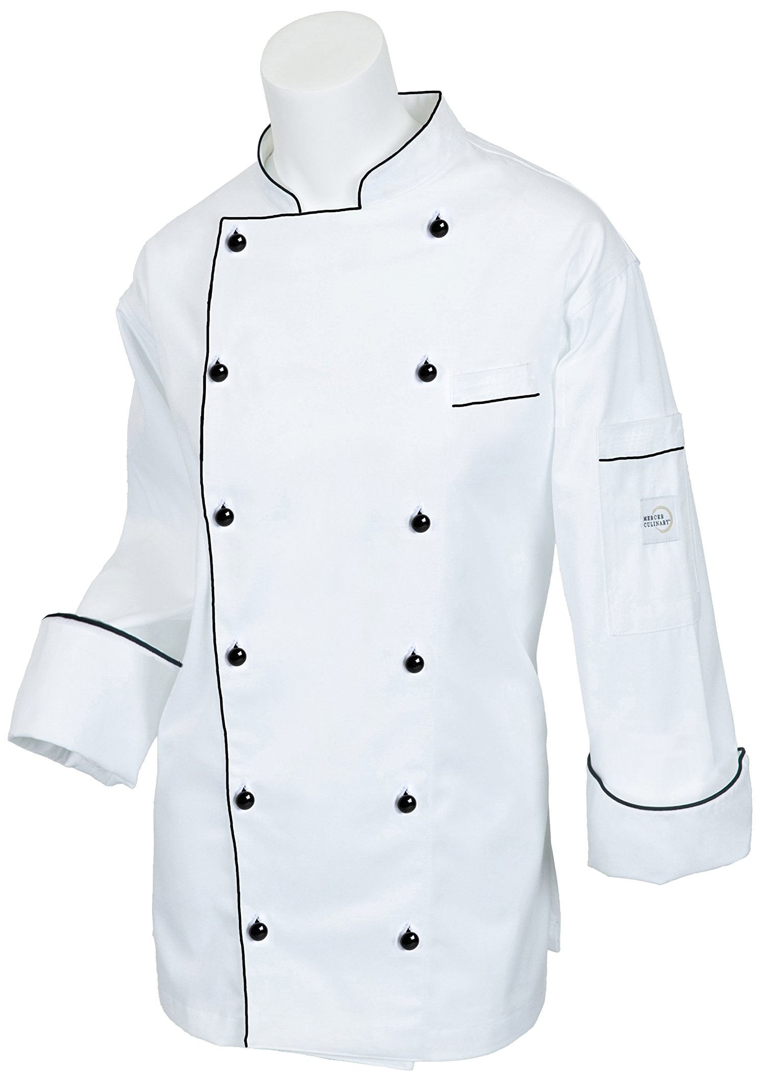 Mercer Culinary M62095WBXS Renaissance Women's Traditional Neck Jacket with Black Piping, X-Small by Mercer Culinary