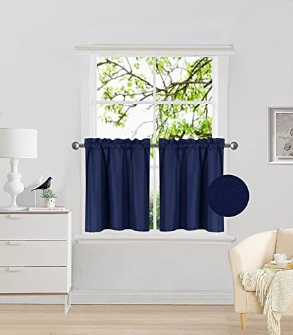 Fancy Collection 2 Panel Navy Blue Bedroom Curtains Blackout Draperies  Thermal Insulated Solid Rod Pocket Top Drapes for Kid\'s Room, Bathroom,  Kitchen ...