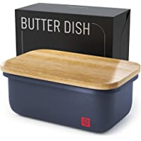 Butter Dish with Bamboo Lid - Countertop Butter Stick Container with Airtight Freshness Seal - Butter Keeper with…