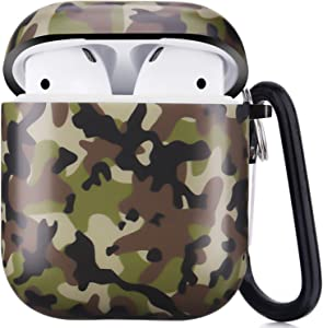 Airpods Case, Airpods Protective Hard Case Cover with Keychain Compatible with AirPods 2/1 Cute Girls Men Durable Shockproof Anti Lost Case for AirPods Charging Case (Camouflage)
