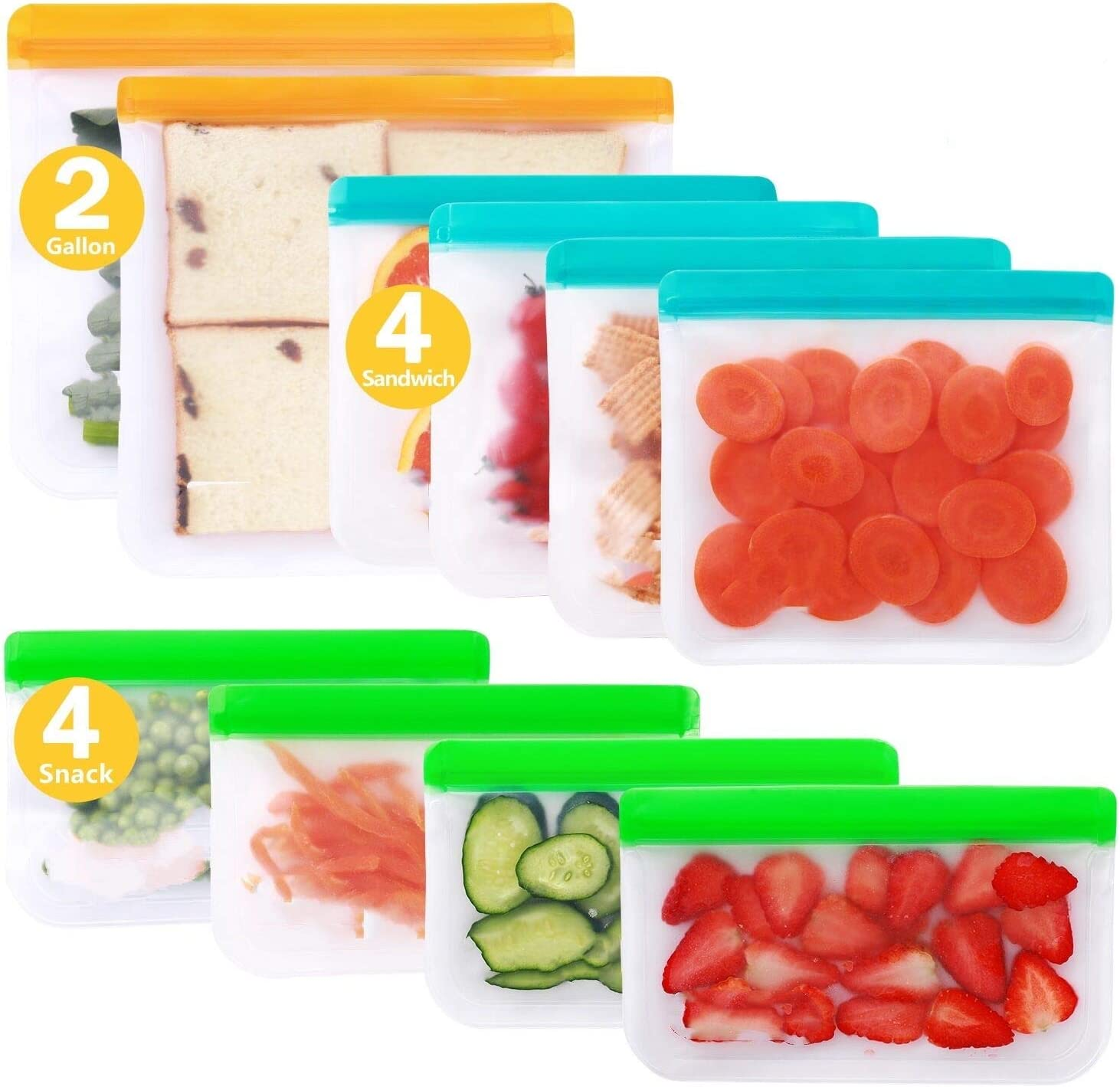 Reusable Storage Bags - 10 Pack BPA FREE Freezer Bags(2 Gallon Bags + 4 Sandwich Bags + 4 Snack Bags) Leakproof Lunch Reusable Bags for Home Kitchen Travel Organization Food Marinate Meat Fruit Cereal