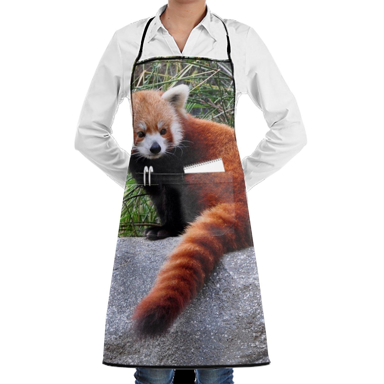 jonhbkdブルーブラックButterfulユニセックスI防水耐久性調節可能な料理ポケットエプロンレディースメンズのシェフ Onesize yh_009_1839059  Red Panda Adaptations14 B07G3387XD