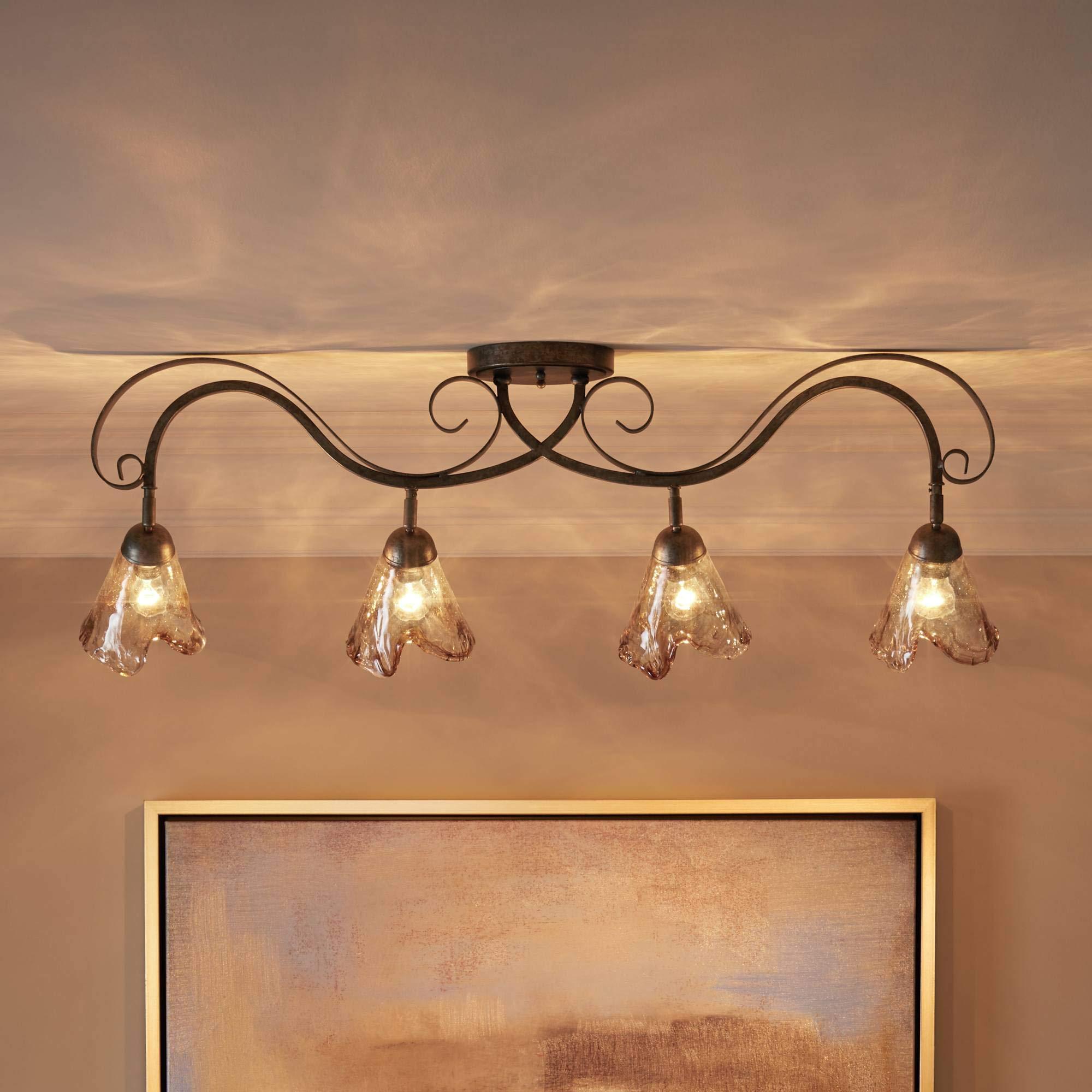 Organic Amber Glass 4-Light Ceiling Track Fixture - Pro Track