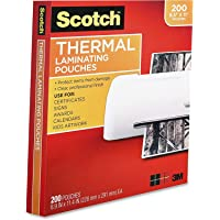 $28 » Scotch Thermal Laminating Pouches, 3 Mil Thick, Durable, Clean Finish, Professional Quality, 8.9 x 11.4 Inches, Letter Size Sheets, 200-Pack, Clear…