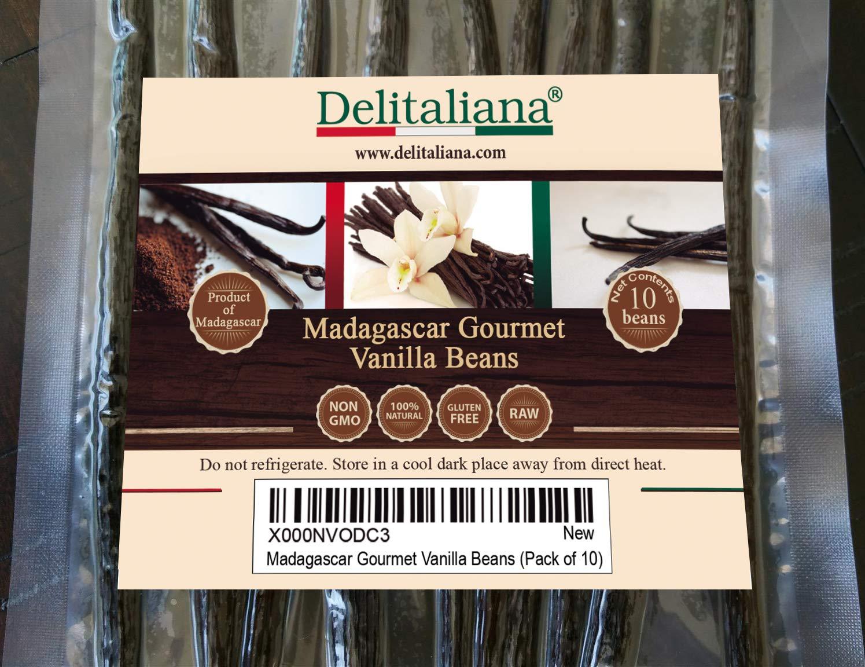 Delitaliana Grade A Madagascar Gourmet Vanilla Beans, 5~6'' (Pack of 10)