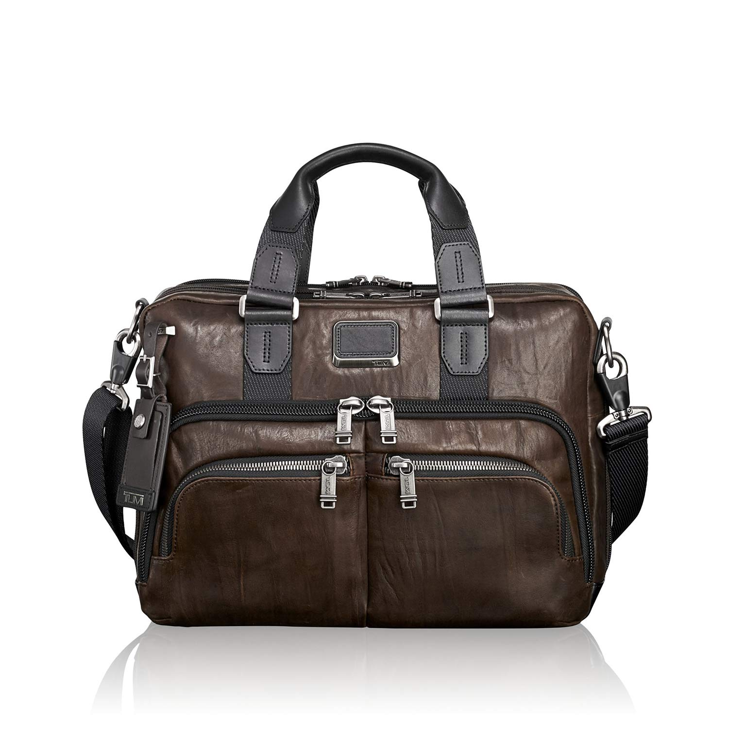 TUMI - Alpha Bravo Albany Leather Laptop Slim Commuter Brief Briefcase - 14 Inch Computer Bag for Men and Women - Dark Brown by TUMI