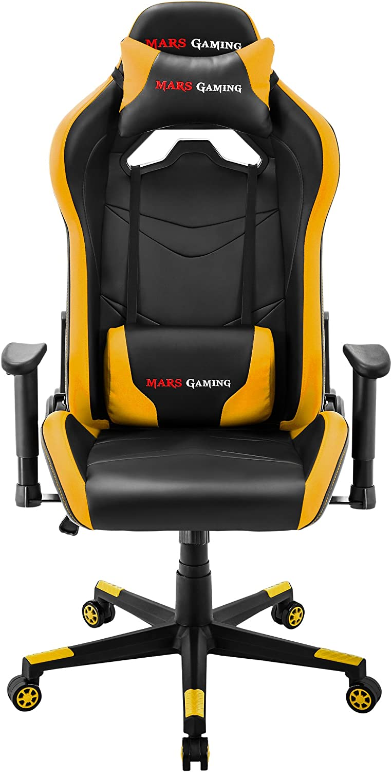 Mars Gaming MGC3, Silla Gaming Regulable, Cojín Lumbar y Cervical