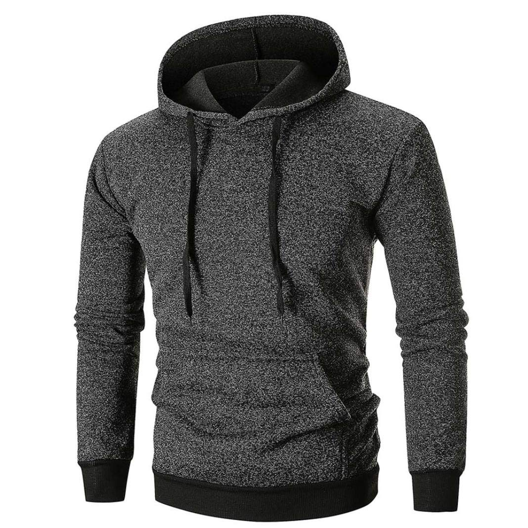 Wensy Clearance Casual O-Neck Men's Long Sleeve Solid Hoodie Hooded Sweatshirt Top Tee Outwear Blouse
