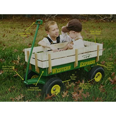 Western Express Green Wooden Kids Wagon: Toys & Games
