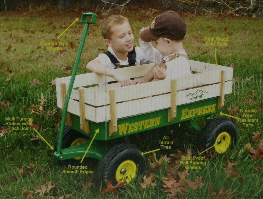 Western Express Green Wooden Kids Wagon