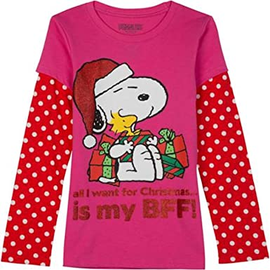 db66174ac69dca Peanuts Snoopy and Woodstock - All I Want For Christmas Is By BFF Girls  Shirt (