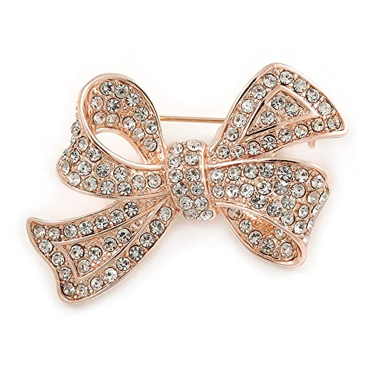Avalaya Rose Gold Tone Metal Clear Crystal Bow Brooch - 50mm W bWpN7tzjyA