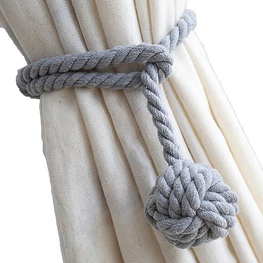 LissomPlume Cuerda de Cortina con Bola Hebilla de Cortina algodón ...