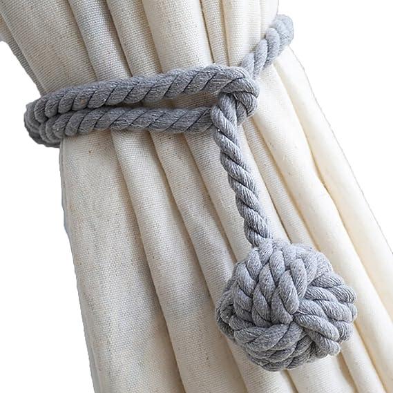 LissomPlume Cuerda de Cortina con Bola Hebilla de Cortina algodón Tejida a Mano: Amazon.es: Hogar