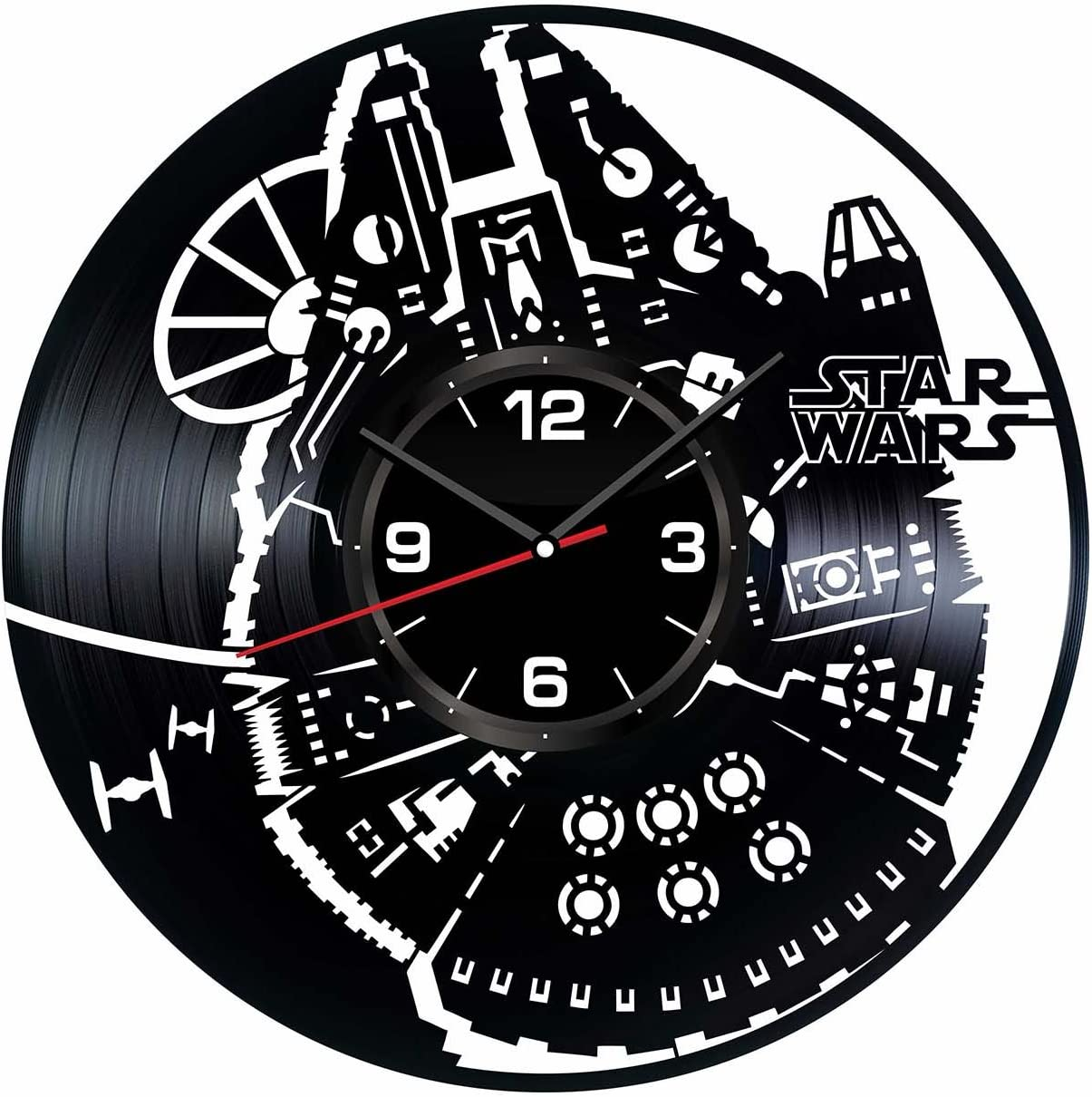 Star Wars Millennium Falcon Wall Clock Made of Vintage Vinyl Records - Stylish clock and Amazing Gifts Idea – Unique Home Decor – Personalized Presents for Men Women – Living Room Art – Handmade 12 In