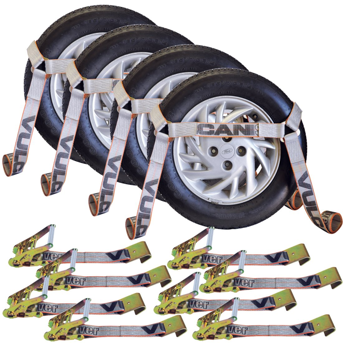 Vulcan Silver Series Flat Bed Side Rail Auto Tie Down With Flat Hooks - 3300 lbs. SWL (Pack of 4)
