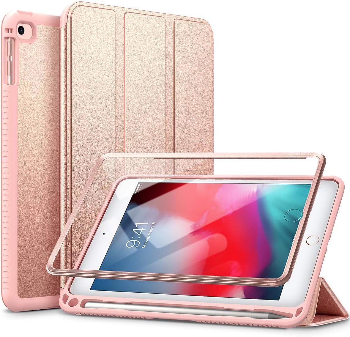 "SURITCH Case for iPad Mini 4/iPad Mini 5,【Built in Screen Protector】【Auto Sleep/Wake】【Pencil Holder】 Lightweight Leather Case Flip Cover with Stand for iPad Mini 4/Mini 5 7.9""(Rose Gold)"