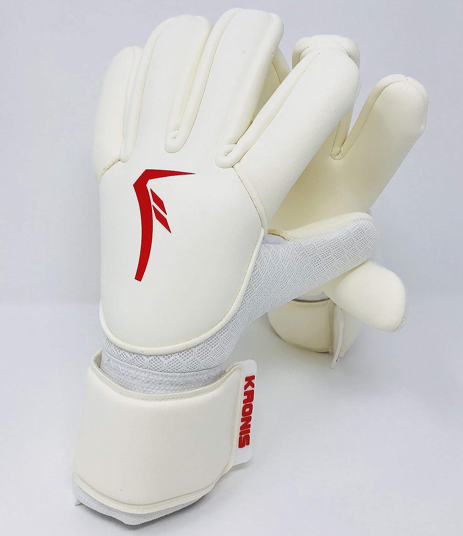 KRONIS Torwarthandschuh Lyna Weiß Rot Größe 7-10 - Professionelle Torwarthandschuhe für Erwachsene und Jugendliche; Entworfen für Top-Leistung, Langlebigkeit, Sicherheit und Komfort.