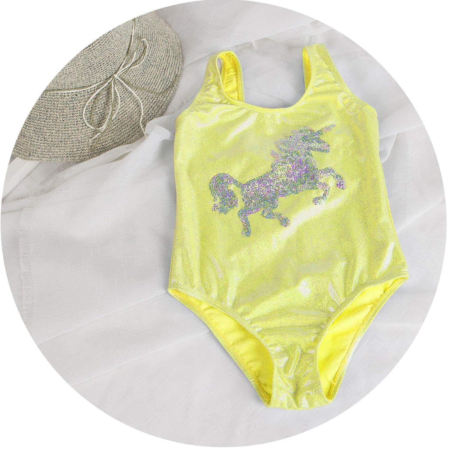 Unicorn Children Swimwear for Girls one Piece Children Swimsuits Girls Swimsuit Kids Bathing Suit 3-8 Years Sliver Sequins 22,Yellow,7 Years