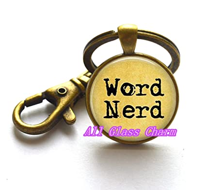 Beautiful llavero, palabra Nerd clave anillos - Joyería de ...
