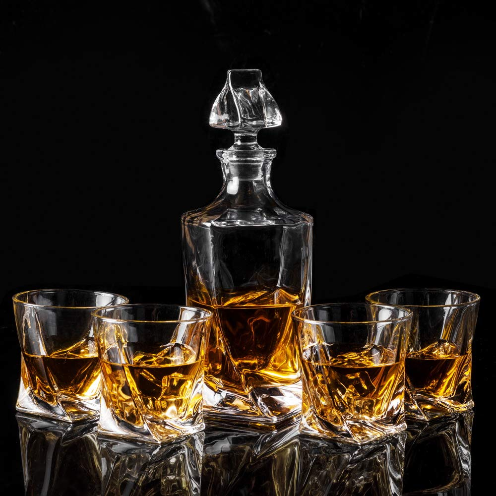 KANARS Twist Whiskey Decanter Set With 4 Glasses In Luxury Gift Box - Original Lead Free Crystal Liquor Decanter Set For Scotch or Bourbon, 5-Piece by KANARS (Image #5)