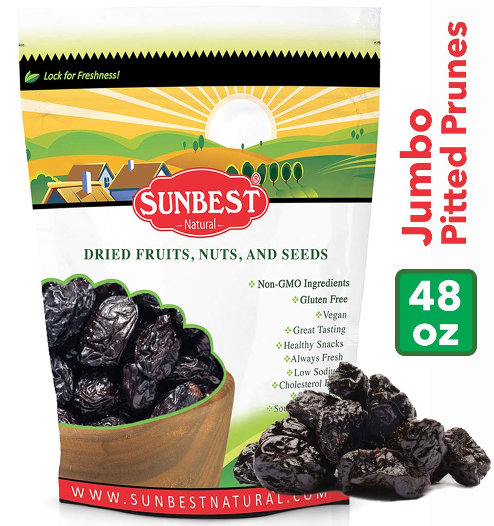 SUNBEST Pitted Dried Prunes, Dried Plum - Pitted in Resealable Bag (3 Lb) by SUNBEST NATURAL