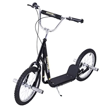 "e3dbde0fe91 HOMCOM Adult Teen Push Scooter Kids Children Stunt Scooter Bike Bicycle  Ride On 16"" Pneumatic"