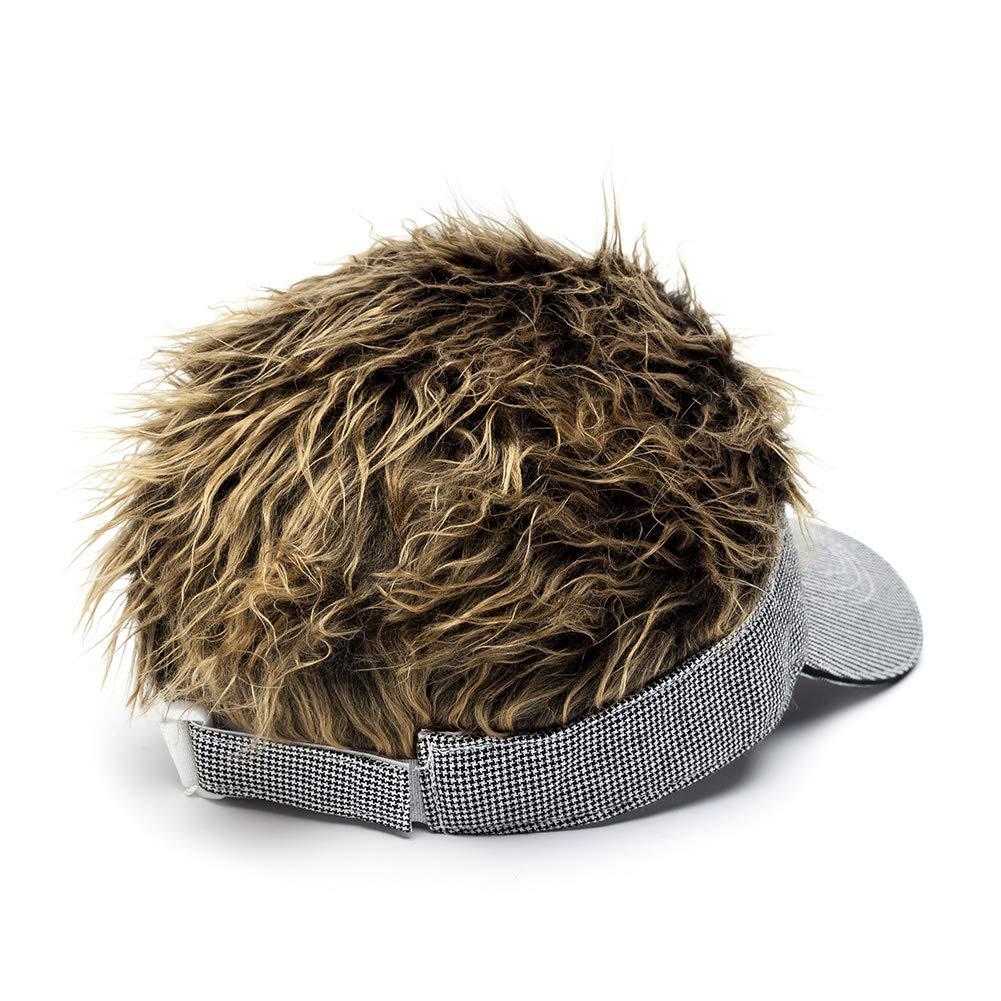 OBERORA Flair Hair Visor Sun Cap Wig Peaked Adjustable Baseball Hat with Spiked Hairs
